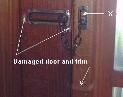 To pevent door damage store the chain in the chain holder (X) & Door Chain Security Lock. Door chain. Security chain