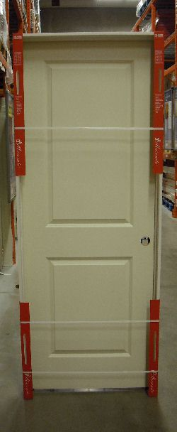 prehung door on dispay at a