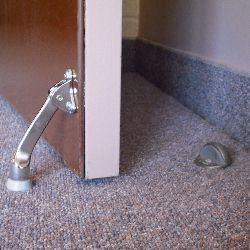 Door stop. Wall floor and door mounted door stops.   & Door stop. Wall floor and door mounted door stops